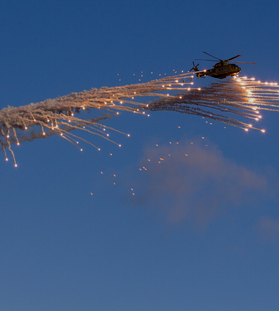 5A Electronic Warfare Danish EH101 Helicopter Ejecting Flares Overlay